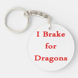 Freno para los dragones rojos llavero redondo acrílico a doble cara