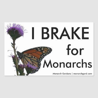 Freno para los monarcas pegatina rectangular