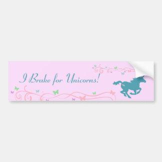¡Freno para los unicornios! Pegatina para el parac Etiqueta De Parachoque