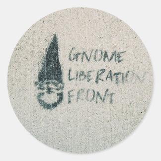 Frente de la liberación del gnomo etiqueta redonda