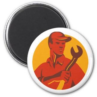 Frente de la llave inglesa del gorra del trabajado imán redondo 5 cm