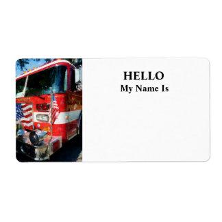 Frente del coche de bomberos etiqueta de envío