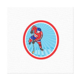 Frente del jugador del hockey sobre hielo con el p