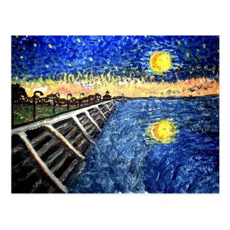 Frente del lago night estrellada tarjeta postal