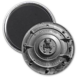 Frente del tractor del vapor del vintage imán redondo 5 cm