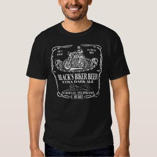 Frente negro de la cerveza del motorista camisas