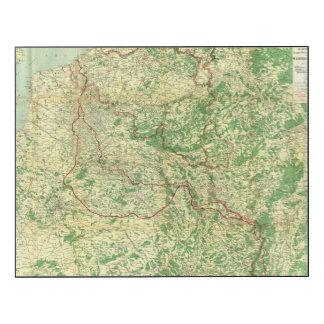 Frente occidental del mapa impresión en madera