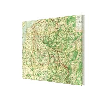 Frente occidental del mapa impresiones en lona estiradas