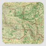 Frente occidental del mapa pegatina cuadrada