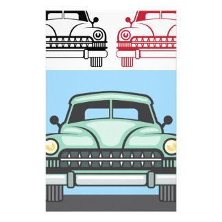 Frente retro del vehículo personalized stationery