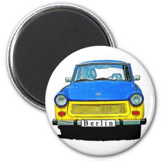 Frente trabante del coche, azul y amarillo, Berlín Imán Redondo 5 Cm
