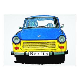 """Frente trabante del coche, azul y amarillo, Berlín Invitación 5"""" X 7"""""""
