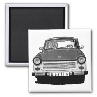 Frente trabante del coche, blanco y negro, Berlín Imán Cuadrado