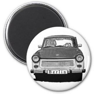 Frente trabante del coche, blanco y negro, Berlín Imán Redondo 5 Cm