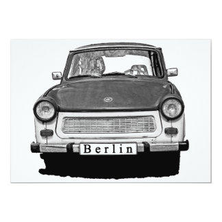 """Frente trabante del coche, blanco y negro, Berlín Invitación 5"""" X 7"""""""
