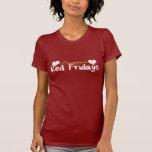 Frente y parte posterior rojos de viernes camiseta