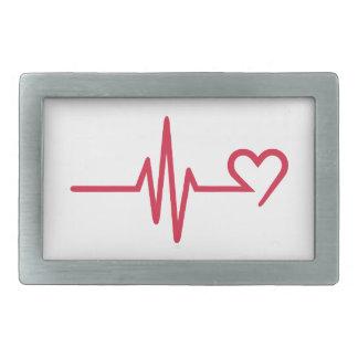 Frequency heart love rectangular belt buckles