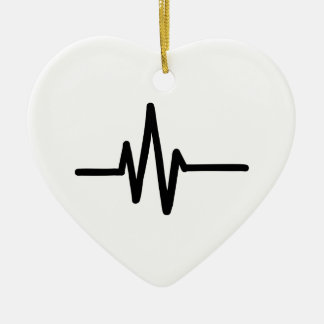 Frequency pulse heartbeat christmas ornament