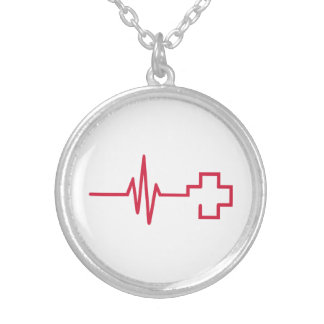 Frequency red cross round pendant necklace