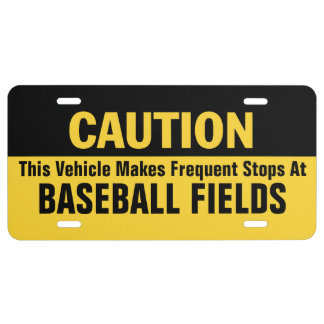 Frequent Stops at Baseball Fields License Plate