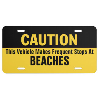 Frequent Stops at Beaches License Plate