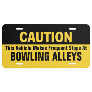Frequent Stops at Bowling Alleys License Plate