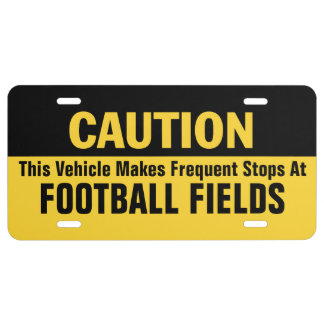 Frequent Stops at Football Fields License Plate