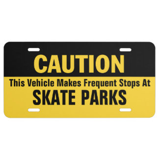 Frequent Stops at Skate Parks License Plate
