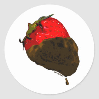 Fresa Chocolate-Cubierta Pegatina