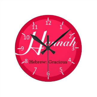 Fresa de Hannah Dos-Entonada Reloj Redondo Mediano