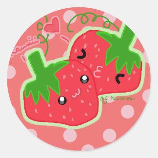 Fresa de Kawaii Pegatina Redonda