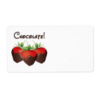 Fresa del chocolate etiquetas de envío