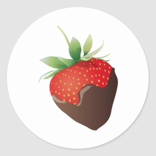 Fresa del chocolate pegatina redonda