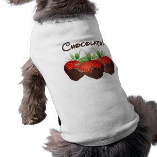 Fresa del chocolate playera sin mangas para perro