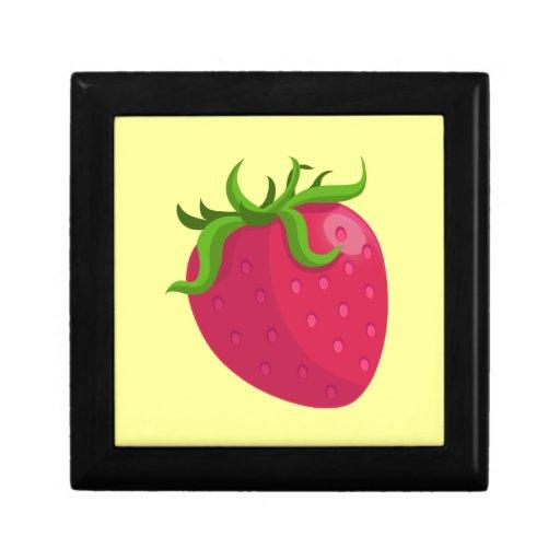 Fresa del dibujo animado joyero cuadrado pequeño