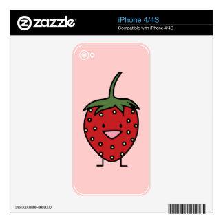 Fresa feliz iPhone 4 calcomanía