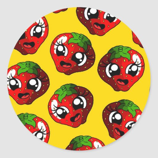 Fresa feliz pegatina redonda