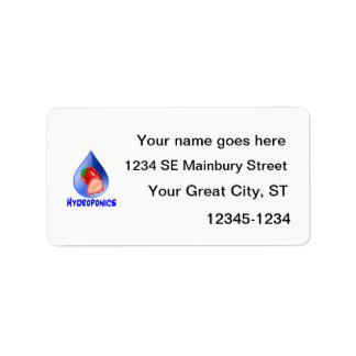 Fresa, hidrocultivo azul del descenso del texto etiquetas de dirección