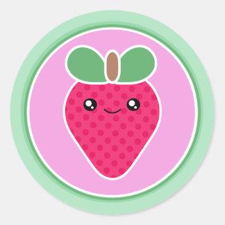 Fresa mega del dulce de Kawaii Pegatina Redonda