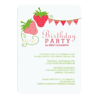 """Fresa que golpea cumpleaños rosado y verde invitación 5"""" x 7"""""""