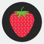 Fresa roja etiquetas redondas