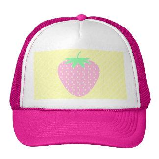 Fresa rosada bonita en rayas amarillas gorras de camionero
