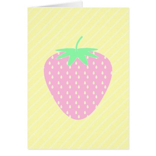 Fresa rosada bonita en rayas amarillas tarjeta pequeña
