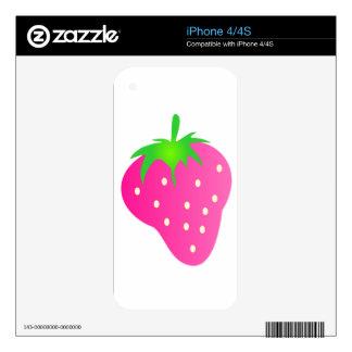 Fresa rosada brillante y alegre iPhone 4 skin