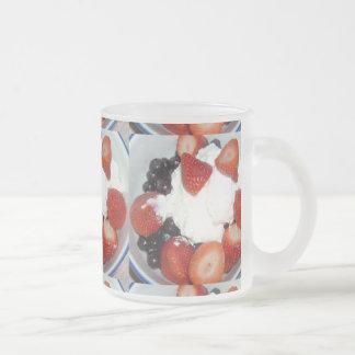 fresa y arándanos taza de cristal