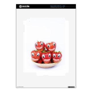 Fresas con los ojos y la boca iPad 2 skins