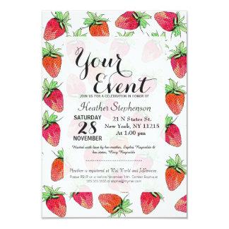 """Fresas con sabor a fruta de la acuarela colorida invitación 3.5"""" x 5"""""""