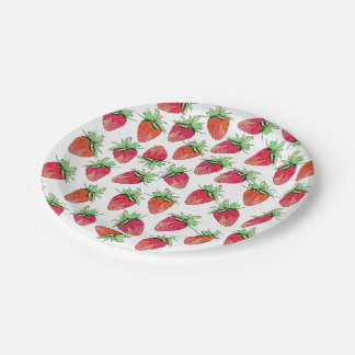Fresas con sabor a fruta de la acuarela colorida platos de papel