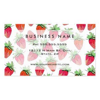 Fresas con sabor a fruta de la acuarela colorida tarjetas de visita
