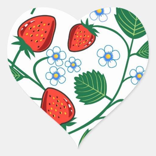 Fresas de Emma Janeway Pegatina En Forma De Corazón